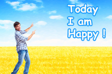 Happy man on abstract design background.