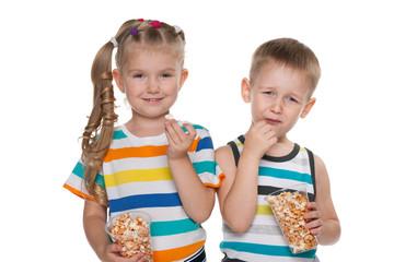 Children with popcorn