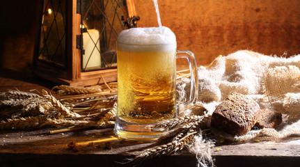 Beer in a transparent mug