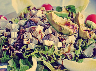 salad with figs, cheese, lettuce, walnuts and avocado