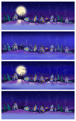 Winter banners with cartoon houses at night.