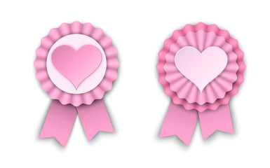 two valentine rosettes