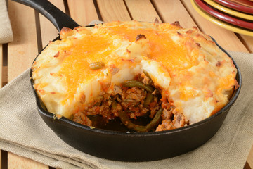 Shepherds pie in a cast iron skillet