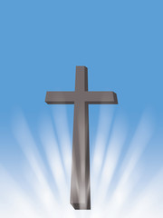 cross sun light rays christian symbol of resurrection