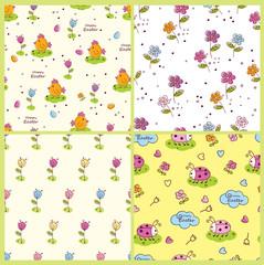 Set of doodle Easter seamless patterns