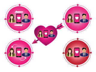 connecting couple of lover icons set