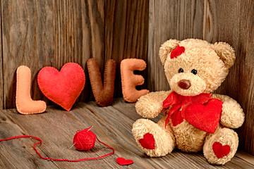 HaValentines Day. Teddy Bear Loving. Hearts, Word Love. Retro.