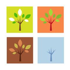 Four seasons in flat design
