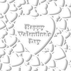 Happy Valentines Day, card template, white hearts