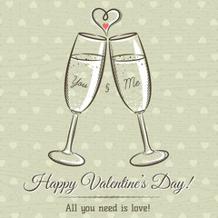 valentine card with two glass of wine and wishes text,  vector