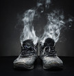 Old work shoes in smoke - 75856054