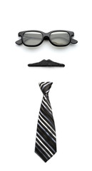 Glasses, mustache and tie forming man face