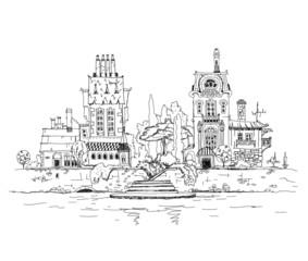 Old town on the river side, sketch illustration