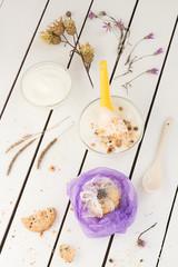 Purple Cookie Gift with Creamy Yogurt and Dried Flowers