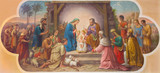 Vienna - Fresco of Nativity scene  in Erloserkirche church. - 75856451