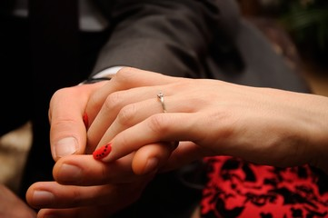 Engagement ring on womans