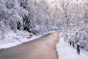 Winter road after snowfall