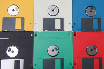 Colored plastic floppy disc background