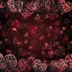 Background of hearts, in maroon colors