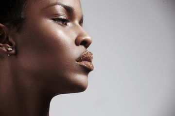 women's profile with a sugar lips