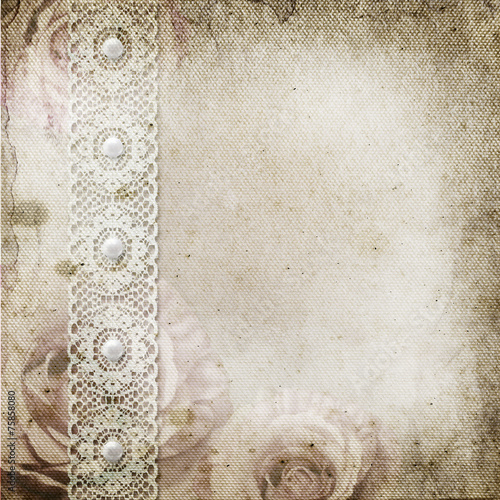 Vintage background with frames, roses, lace, text I Love you, ha © o_april