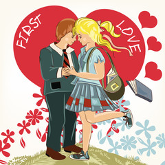 Beautiful Valentine's Day card  with couple of student girl and
