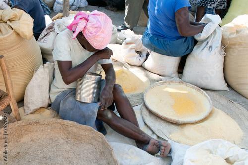 Fotobehang Centraal-Amerika Landen Marktszene, Verrettes, Haiti
