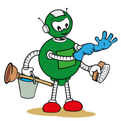 Mascot robot general services and holding cleaning supplies