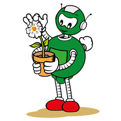 Mascot robot, under general services and caring for flower