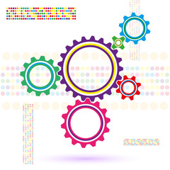 gears on a white background with multi-colored spots