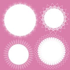 Lace circle frame vector set