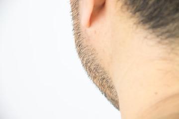 Mens short beard close up
