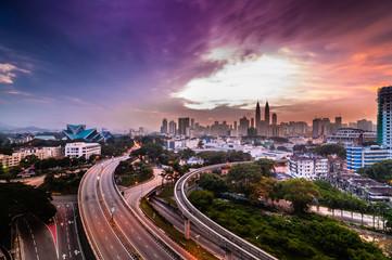 Kuala Lumpur from above during sunrise