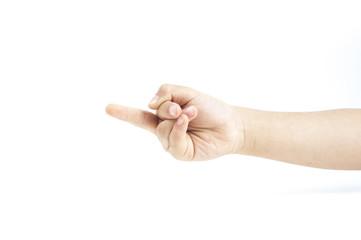Children hand sign middle finger