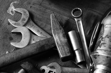 Old Tools. Spanners and hammer