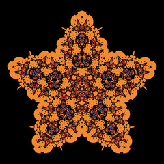 Tribal star on black background. Ornamental colorful vector
