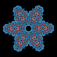 Blue  ornamental star on black background. Tribal art inspired