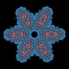 Blue  ornamental star on black background. Tribal art inspired