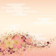 桜と桃色の空の背景
