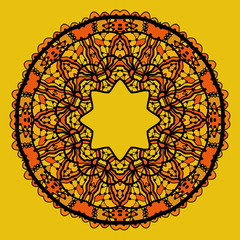 Round lace patterd mandala like design in yellow color. Art