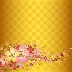 桜と金色の市松模様