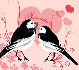 Valentine invitation card with couple of birds and hearts of lov