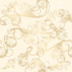 Seamless wallpaper pattern with hand drawn swirls