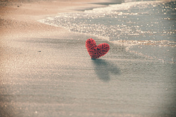 Heart on the beach, antique effect