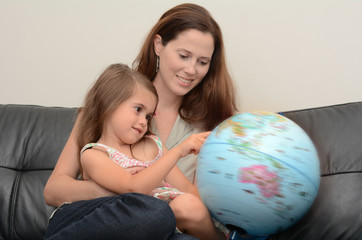 Mother and Child Search and Examining the Globe