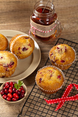 Muffins with cranberry. Selective focus.