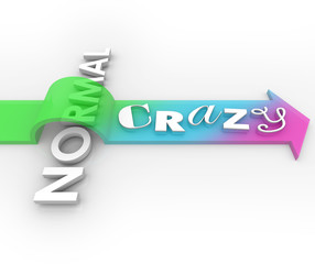 Crazy Vs Normal Arrow Over Word Silly Unusual Funny Impossible I