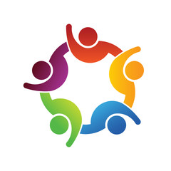 People together with hand up logo