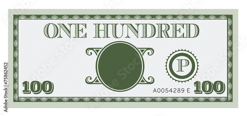 One hundred money bill image. With space to add your text - 75862452