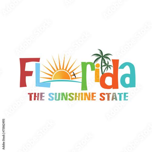 Fototapeta Florida theme name logo
